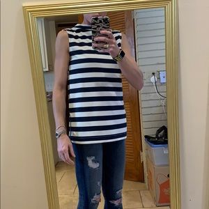 H&M blue and cream striped top size S